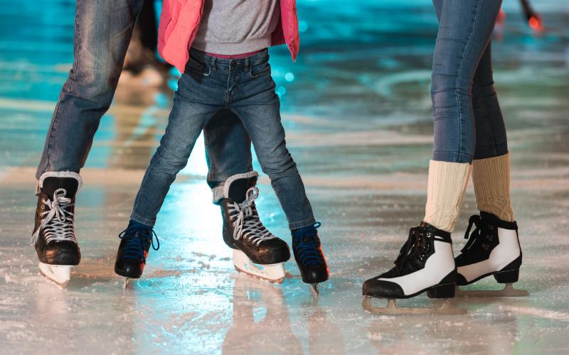 A group ice skating