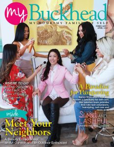 The owner and staff of Sweet and Lashful are featured on My Buckhead 0220 cover