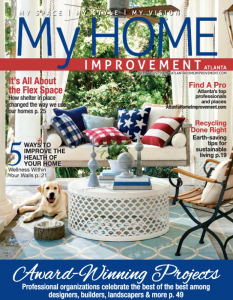 A patriotic cover by Ballard Designs for the July/August issue of My Home Improvement
