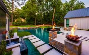 Pool with fire feature and little steps