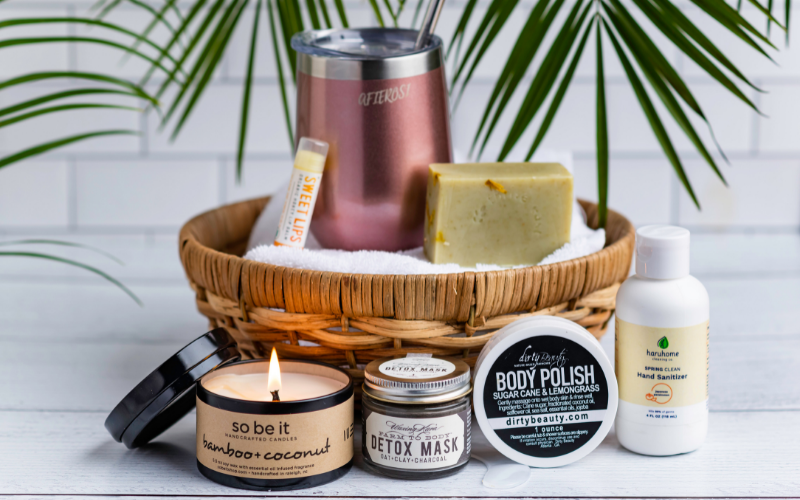 candles and goodies in a basket