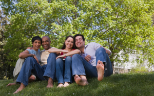 people sitting on a lawn